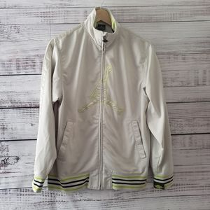 Jordan Jacket  Beige Zip with Green Jordan Size M
